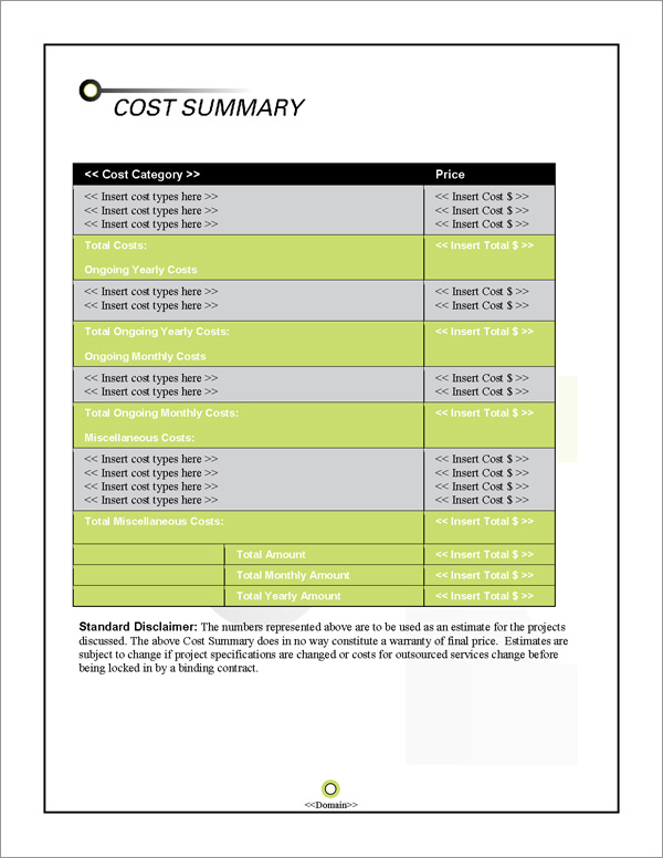 Proposal Pack Contemporary #15 Cost Summary Page