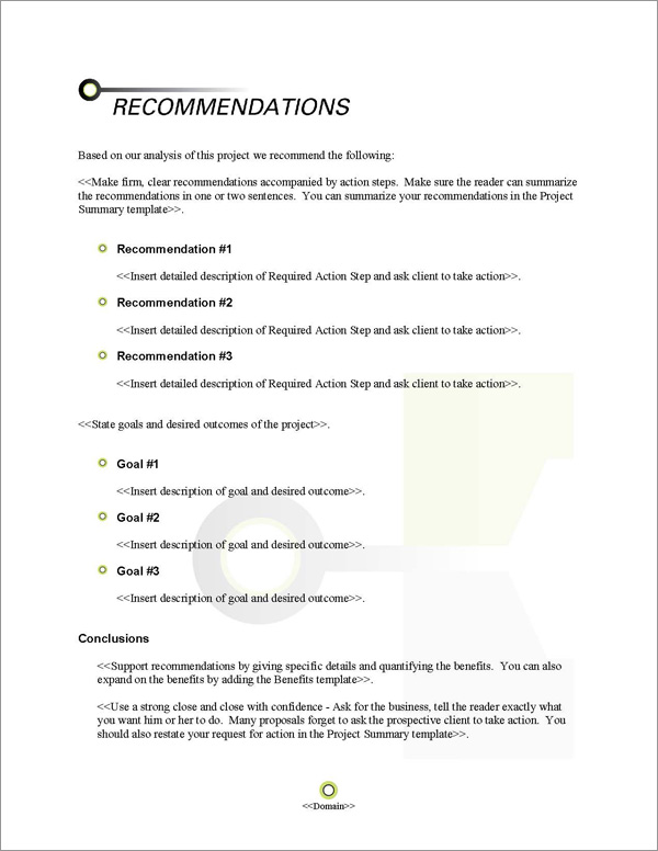 Proposal Pack Contemporary #15 Recommendations Page