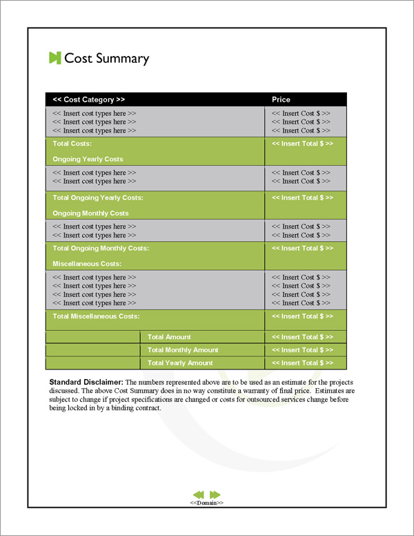 Proposal Pack Entertainment #7 Cost Summary Page