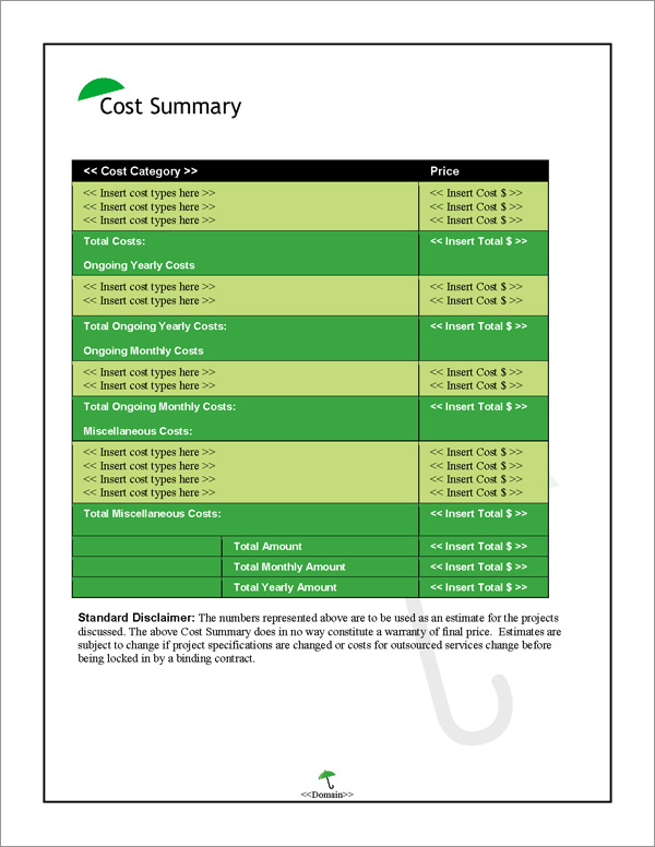Proposal Pack Security #5 Cost Summary Page