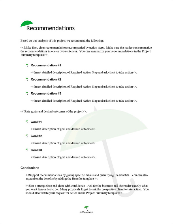 Proposal Pack Security #5 Recommendations Page