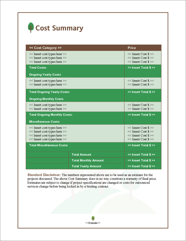 Proposal Pack Nature #3 Cost Summary Page