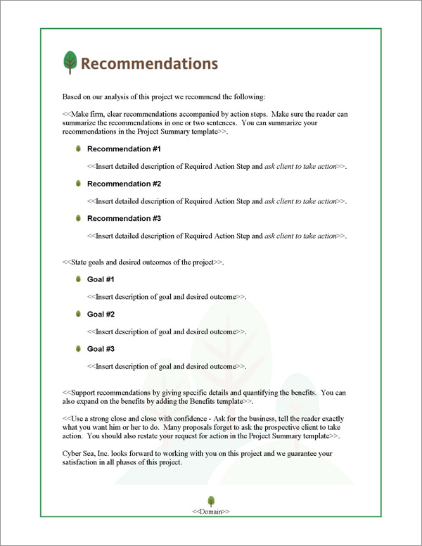 Proposal Pack Nature #3 Recommendations Page