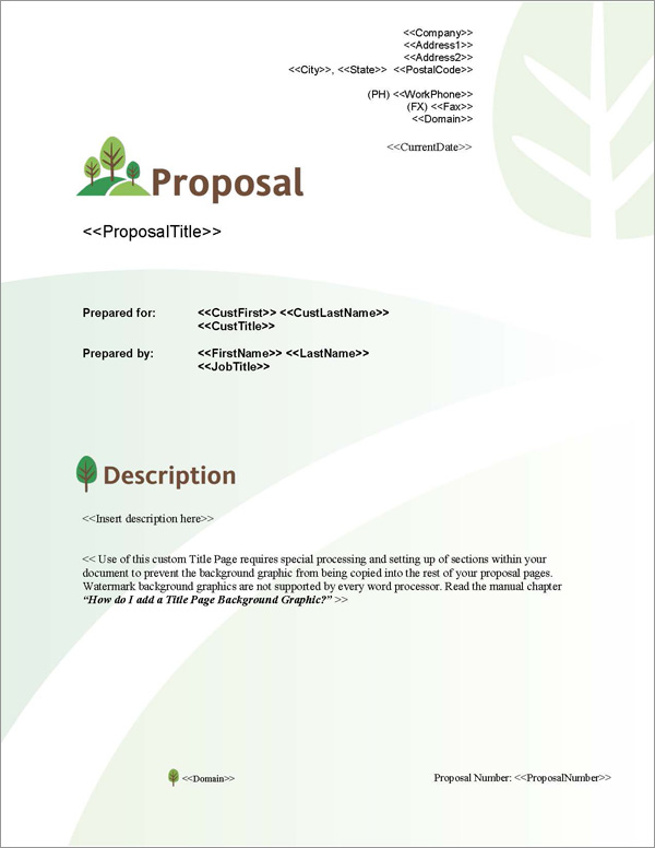 Proposal Pack Nature #3 Title Page