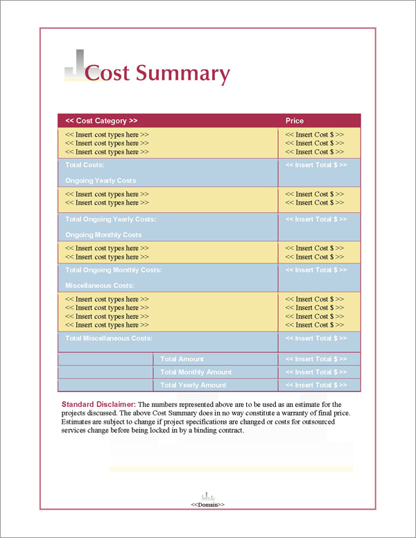 Proposal Pack Skyline #1 Cost Summary Page