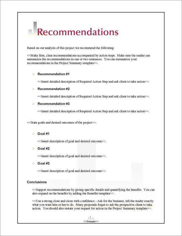 Proposal Pack Skyline #1 Recommendations Page