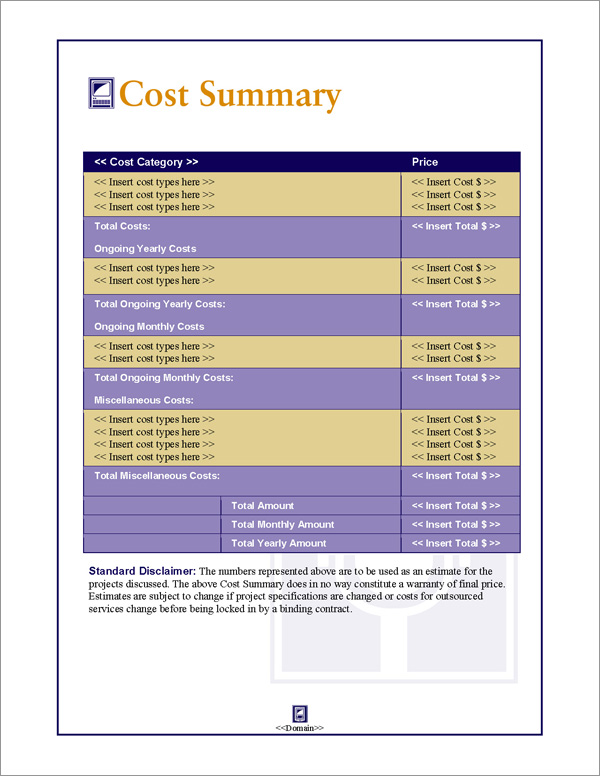 Proposal Pack Communication #1 Cost Summary Page