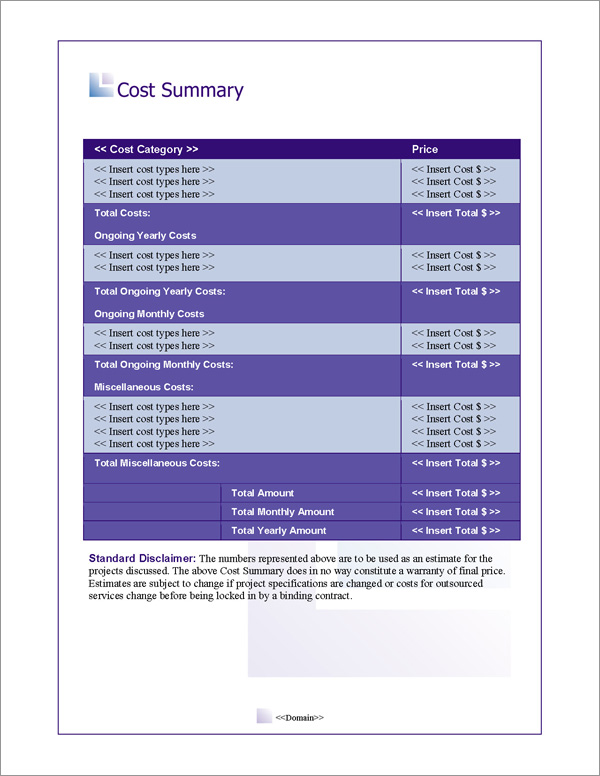 Proposal Pack Business #8 Cost Summary Page