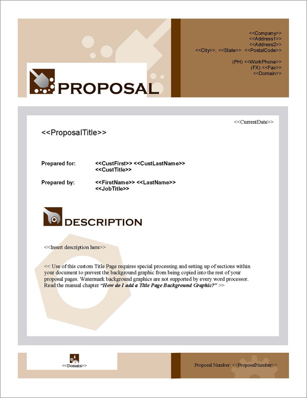 Proposal Pack Construction #3 Title Page