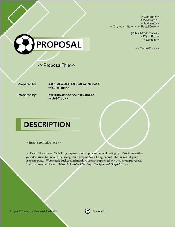 Proposal Pack Sports #1 Title Page