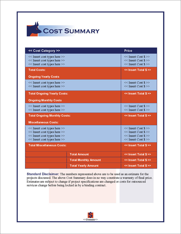 Proposal Pack Financial #2 Cost Summary Page