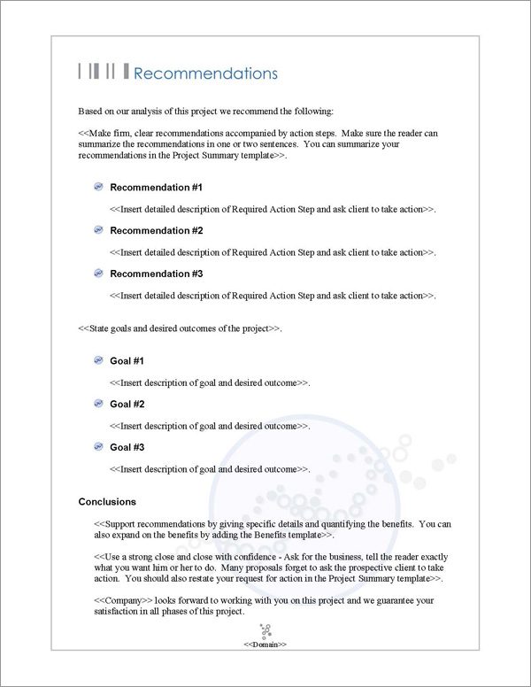 Proposal Pack Medical #3 Recommendations Page