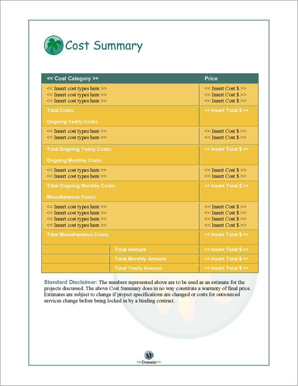 Proposal Pack Travel #1 Cost Summary Page
