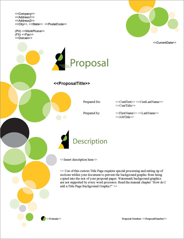 Proposal Pack Concepts #6 Title Page
