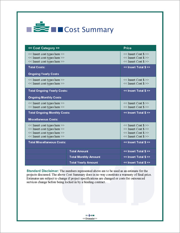 Proposal Pack Travel #2 Cost Summary Page