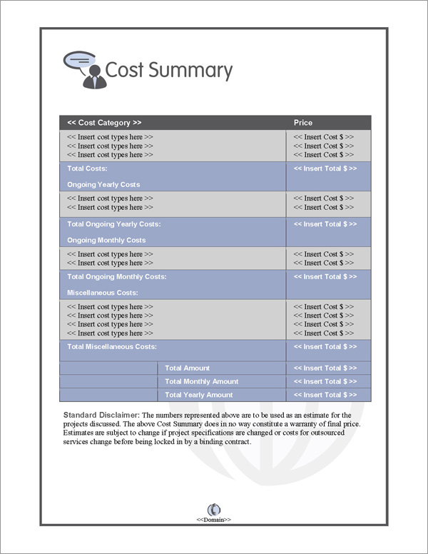 Proposal Pack Communication #2 Cost Summary Page
