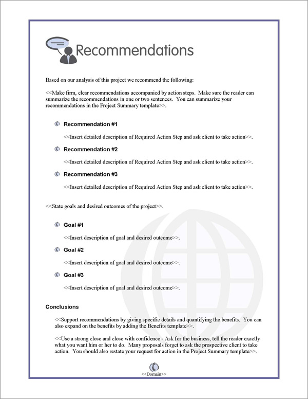 Proposal Pack Communication #2 Recommendations Page