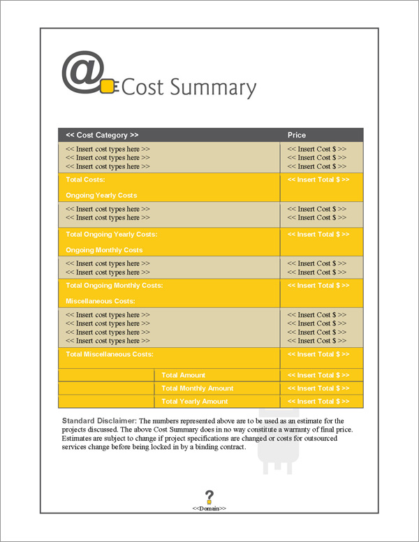 Proposal Pack Concepts #7 Cost Summary Page