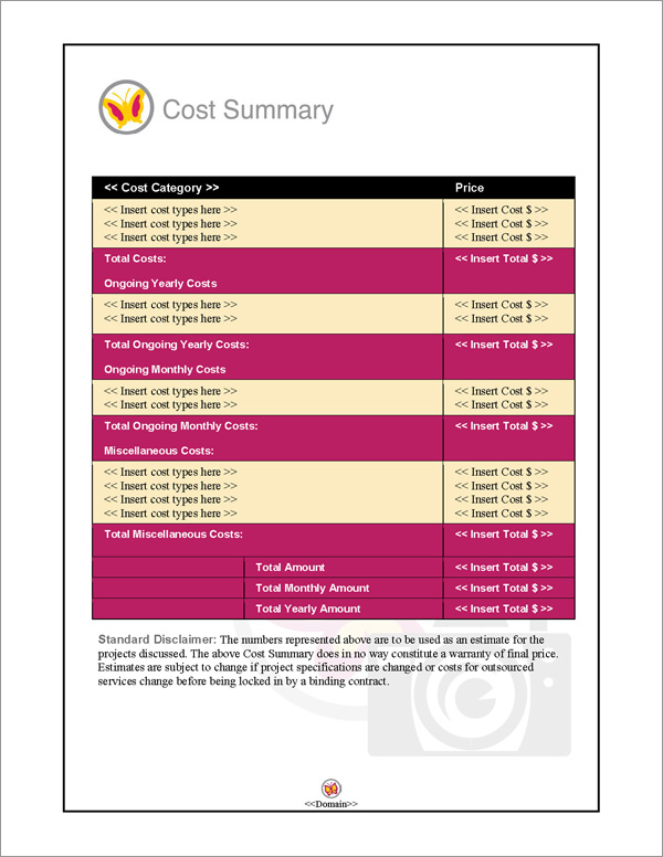 Proposal Pack Photography #3 Cost Summary Page