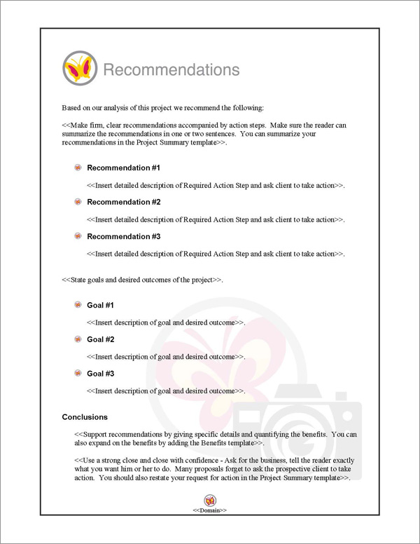Proposal Pack Photography #3 Recommendations Page