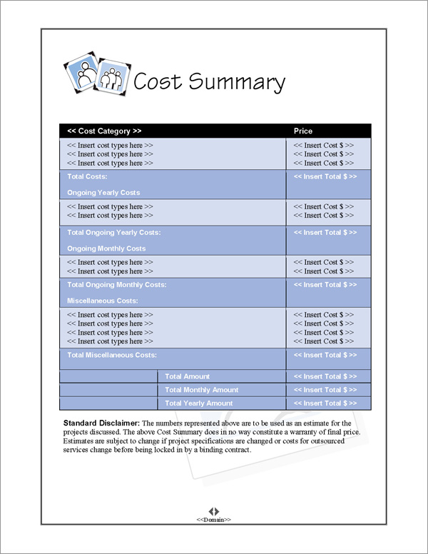 Proposal Pack Photography #4 Cost Summary Page