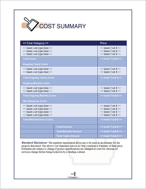 Proposal Pack Janitorial #1 Cost Summary Page