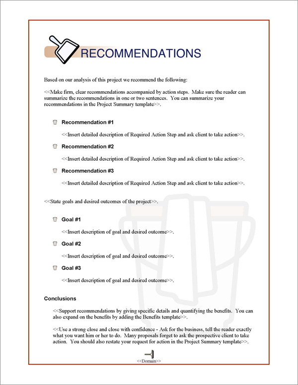 Proposal Pack Janitorial #1 Recommendations Page