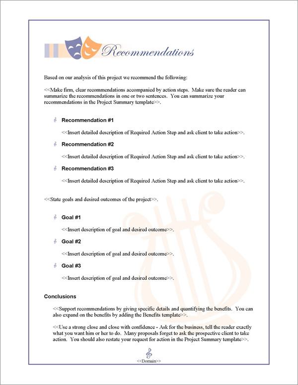Proposal Pack Entertainment #3 Recommendations Page