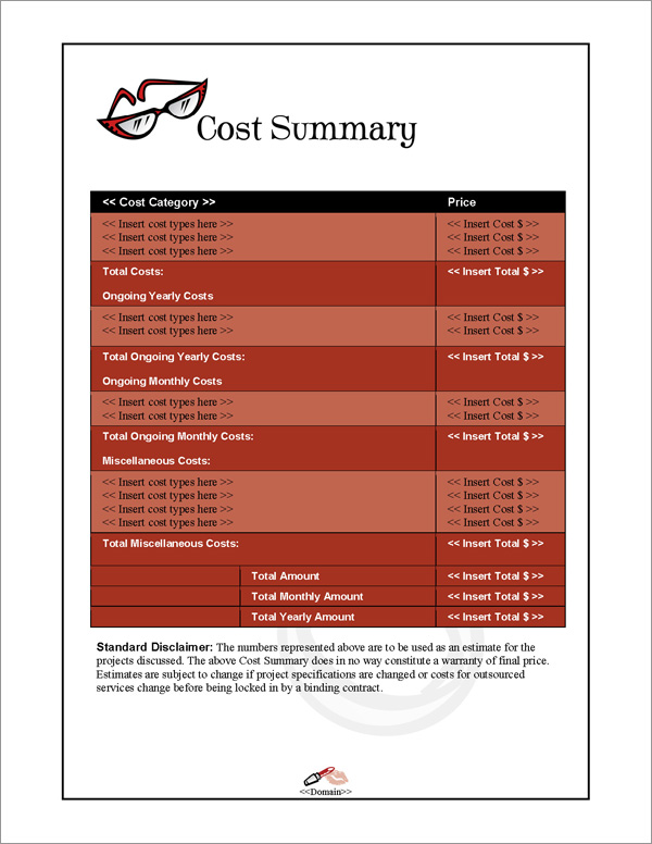 Proposal Pack Fashion #1 Cost Summary Page