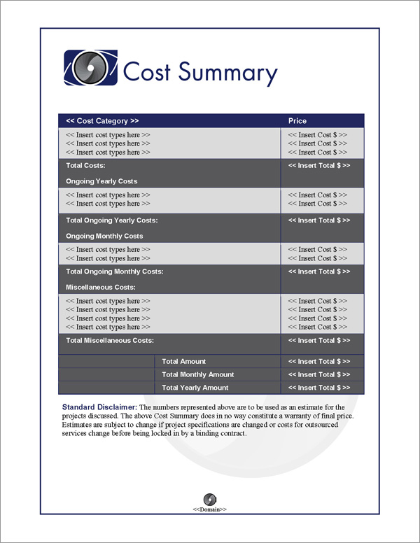 Proposal Pack Photography #5 Cost Summary Page