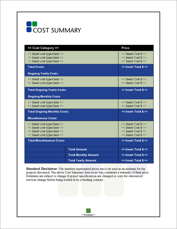 Proposal Pack Classic #6 Cost Summary Page