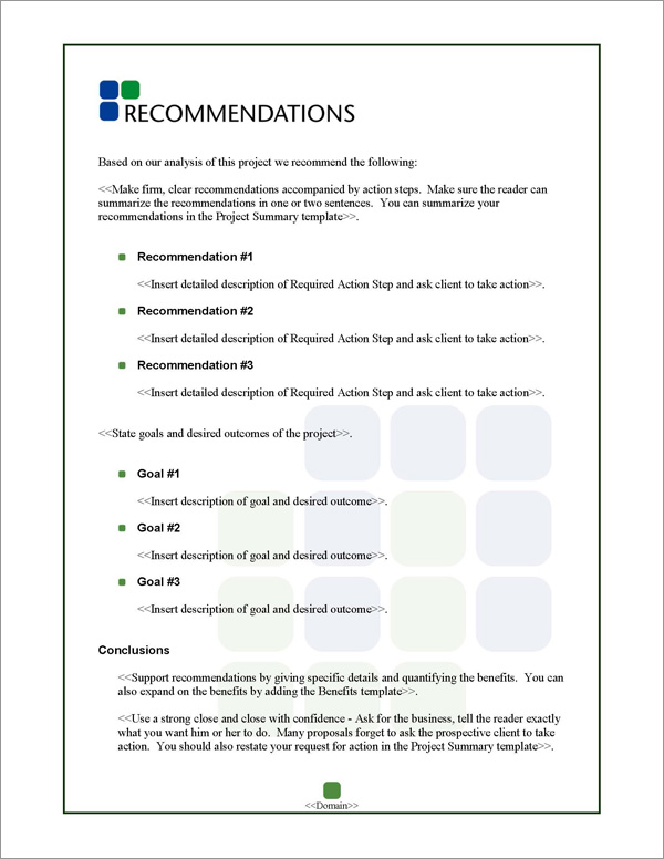 Proposal Pack Classic #6 Recommendations Page