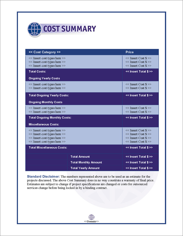 Proposal Pack Global #2 Cost Summary Page