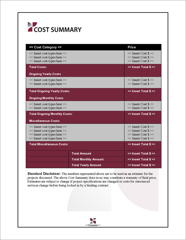 Proposal Pack Classic #7 Cost Summary Page