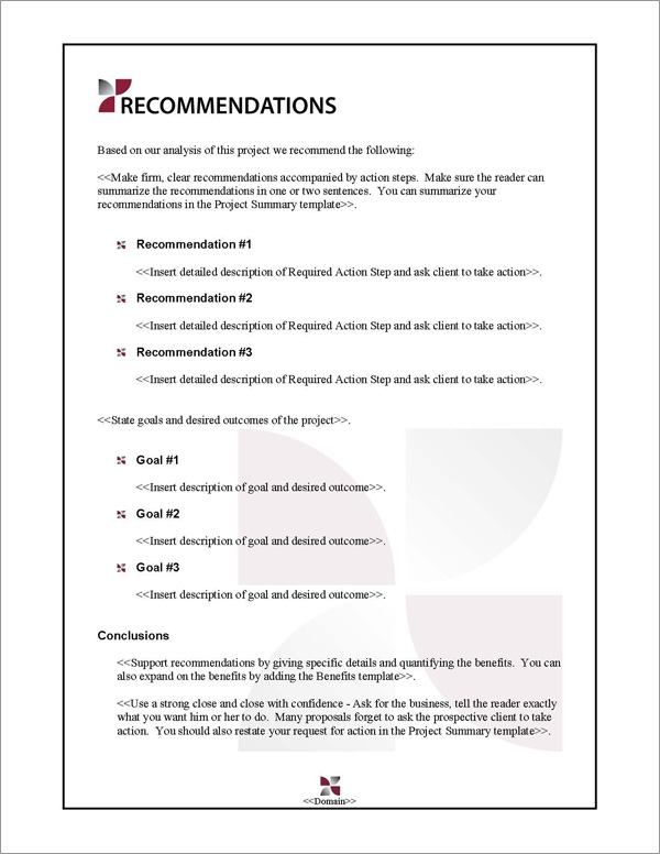 Proposal Pack Classic #7 Recommendations Page