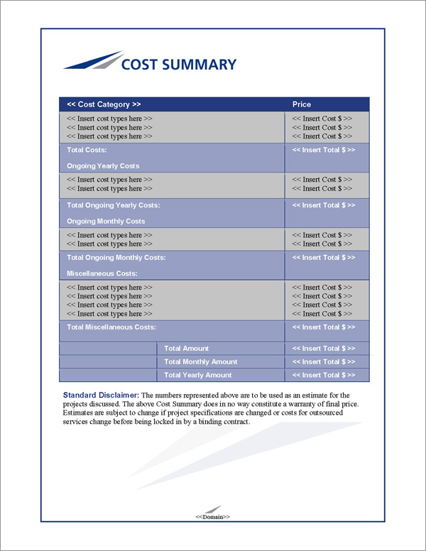 Proposal Pack Classic #8 Cost Summary Page