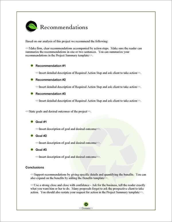 Proposal Pack Environmental #1 Recommendations Page
