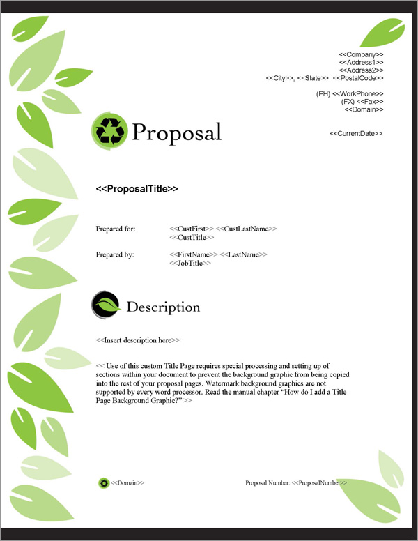 Proposal Pack Environmental #1 Title Page