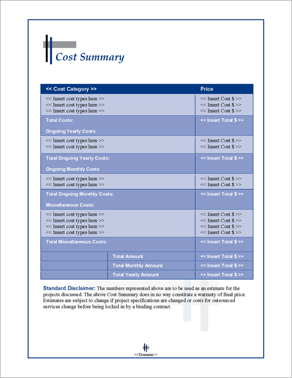 Proposal Pack Classic #9 Cost Summary Page
