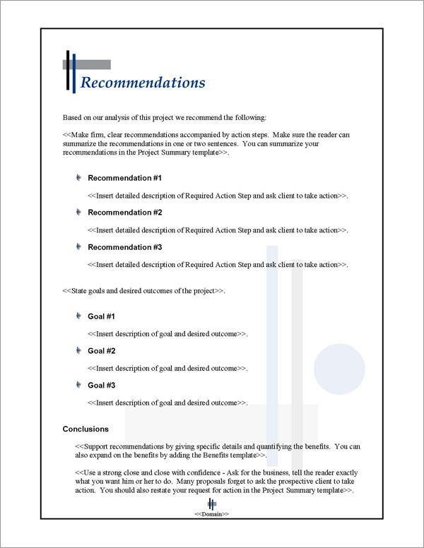 Proposal Pack Classic #9 Recommendations Page