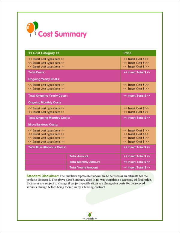 Proposal Pack Events #1 Cost Summary Page
