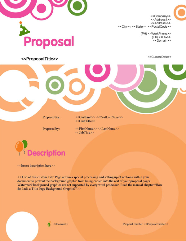 Proposal Pack Events #1 Title Page