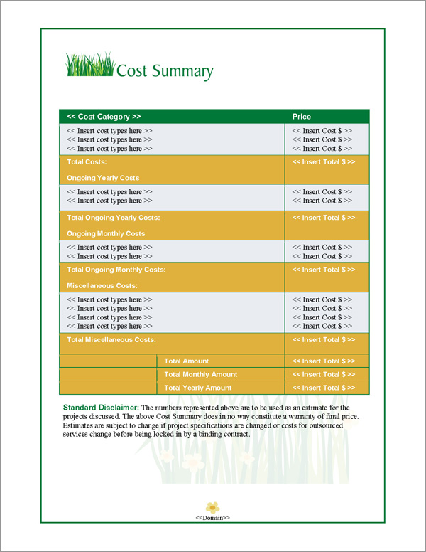 Proposal Pack Lawn #1 Cost Summary Page