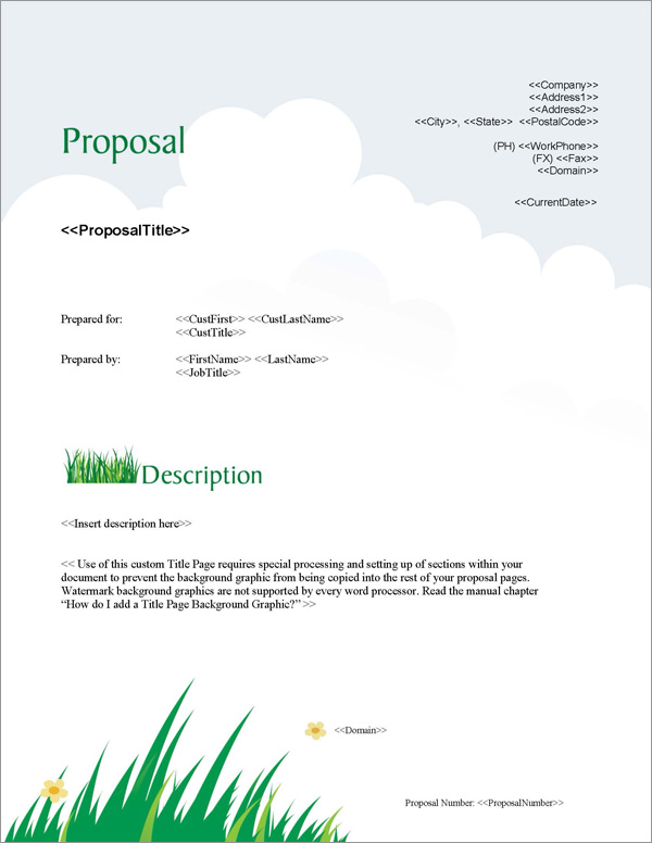 Proposal Pack Lawn #1 Title Page