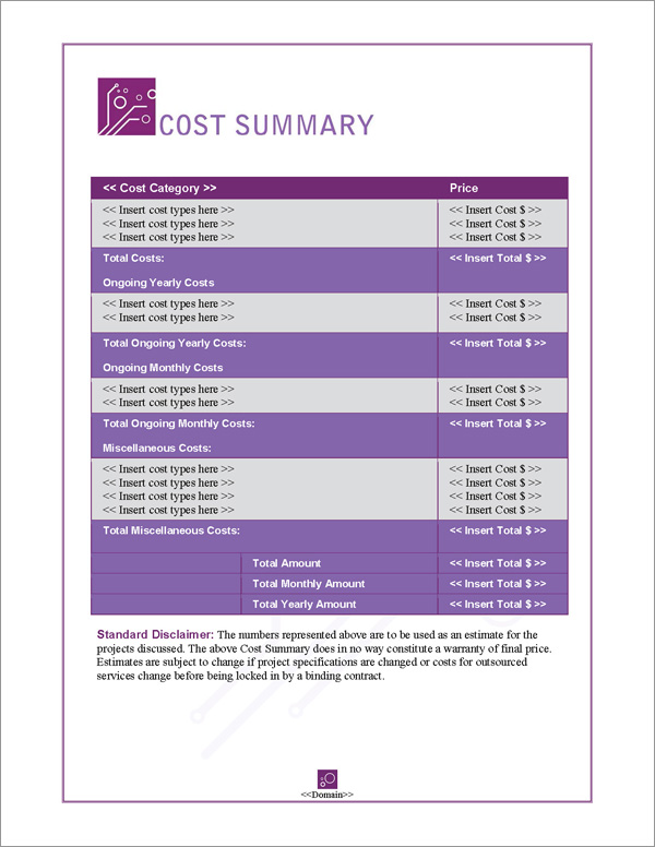 Proposal Pack Tech #5 Cost Summary Page