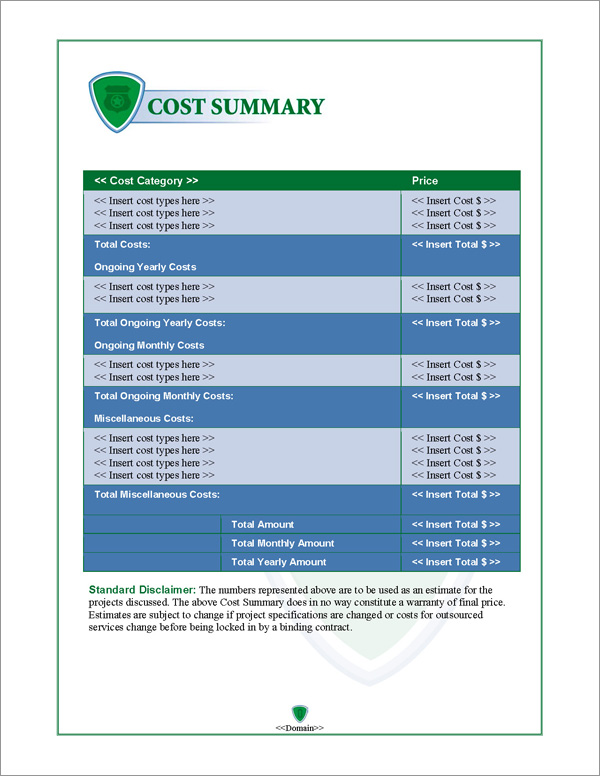 Proposal Pack Security #2 Cost Summary Page