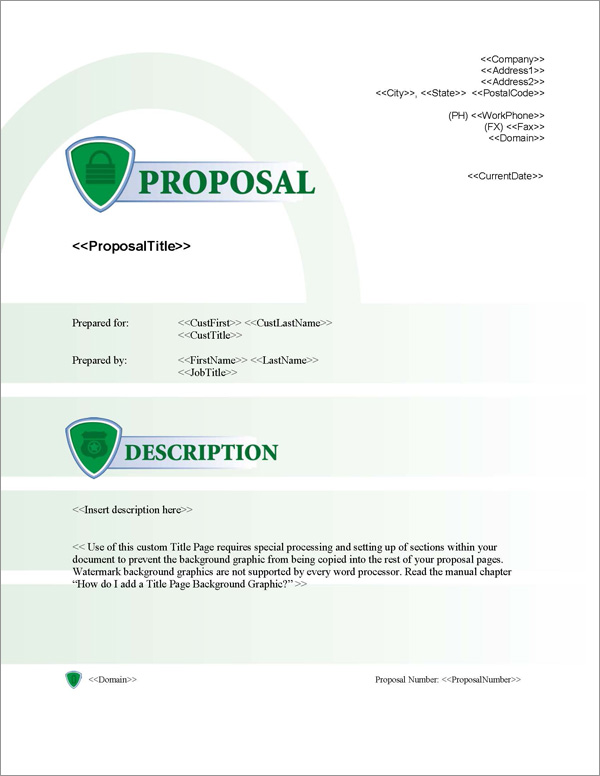 Proposal Pack Security #2 Title Page
