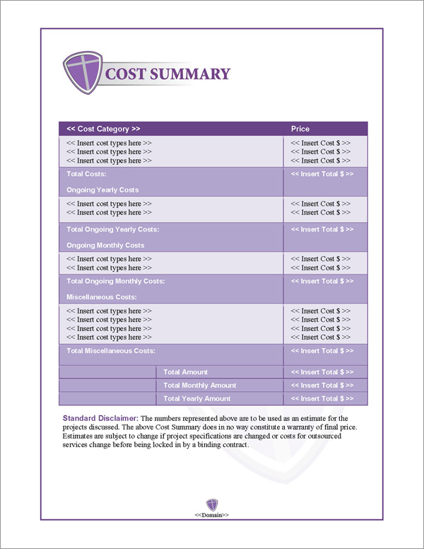 Proposal Pack Security #3 Cost Summary Page
