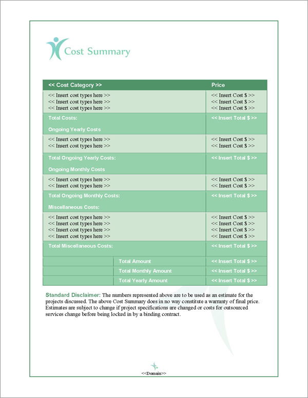 Proposal Pack People #2 Cost Summary Page