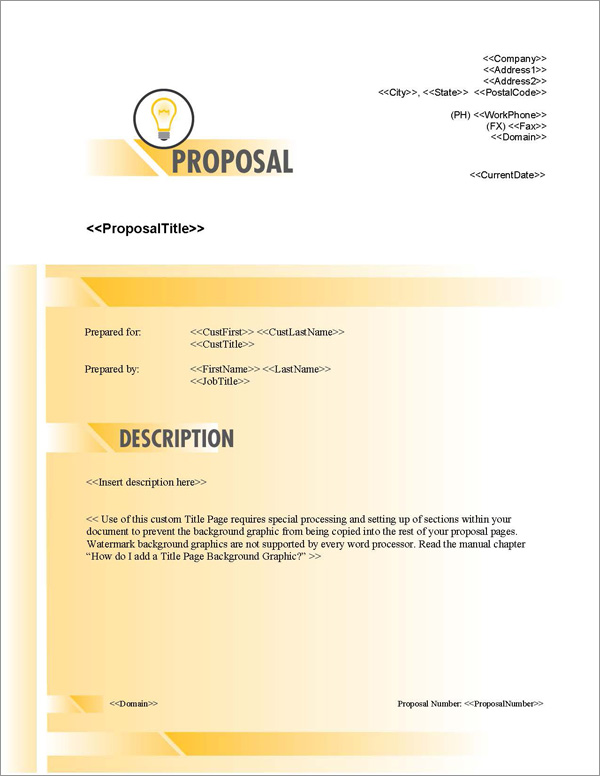Proposal Pack Concepts #10 Title Page